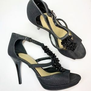 Gianni Bini Slate Bling Beaded Platform Heels 8